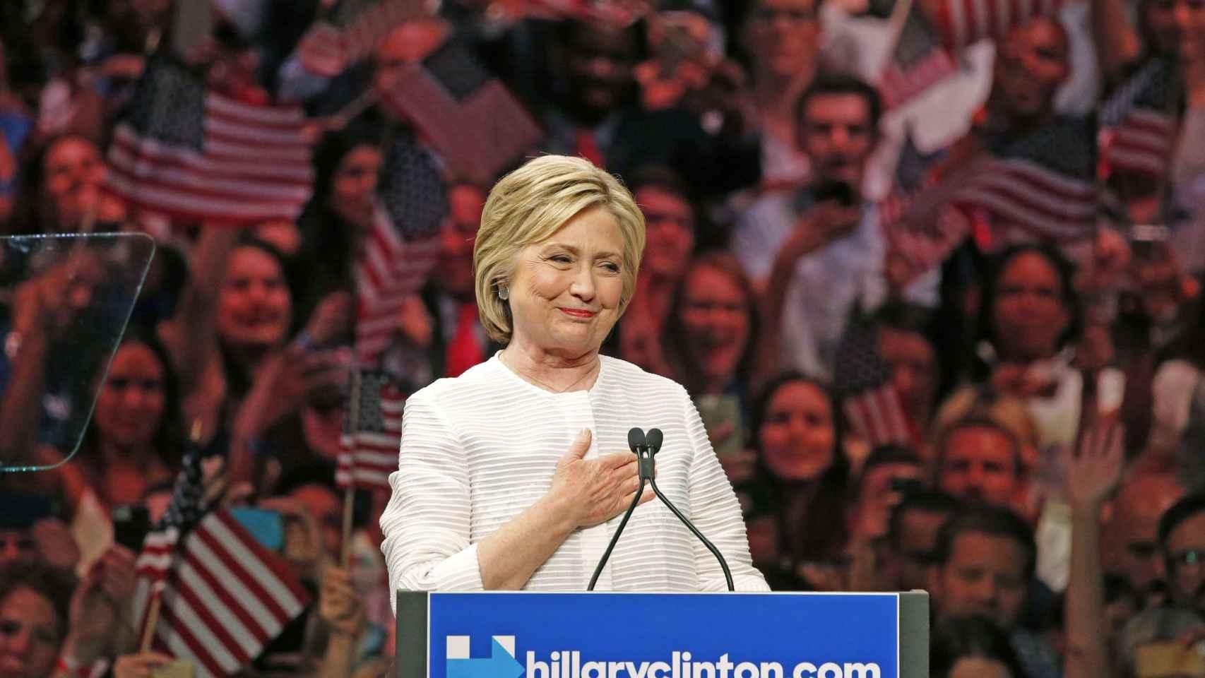 Hillary Clinton durante la noche de primarias en California.