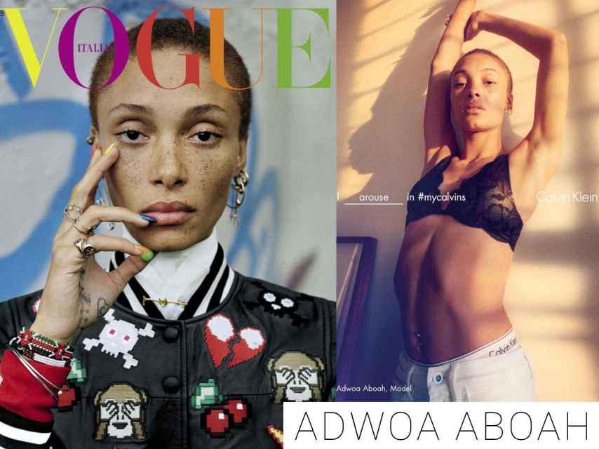 Adwoa Aboah en la portada de Vogue Italia y En la campaña de Calvin Klein