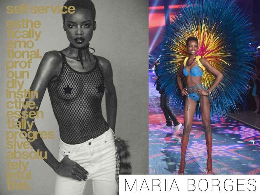 Maria Borges en la portada de Self Service y desfilando para Victoria Secret