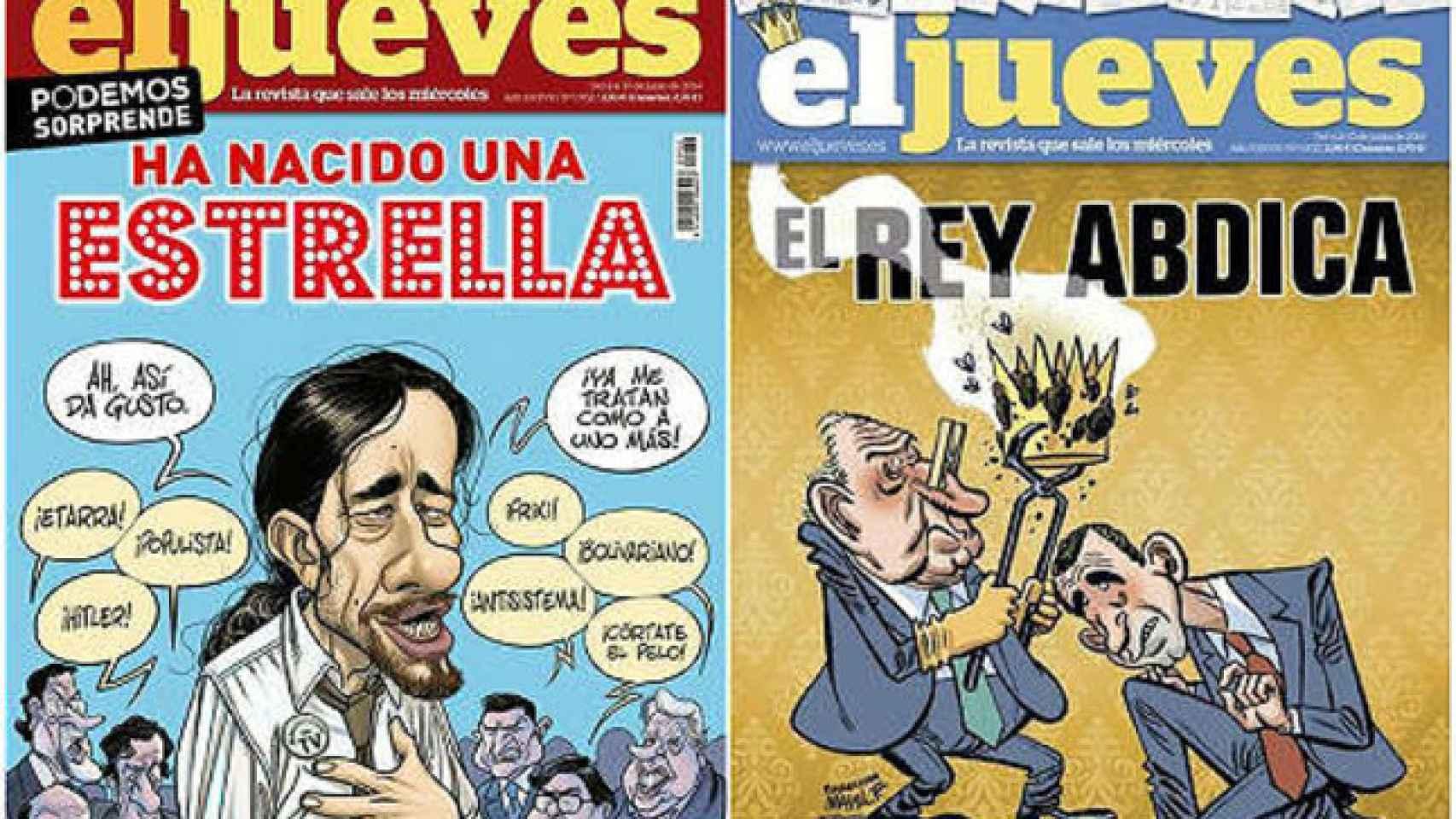 A la derecha, la portada censurada sobre la abdicación. A la izquierda, la que llegó a los kioskos.