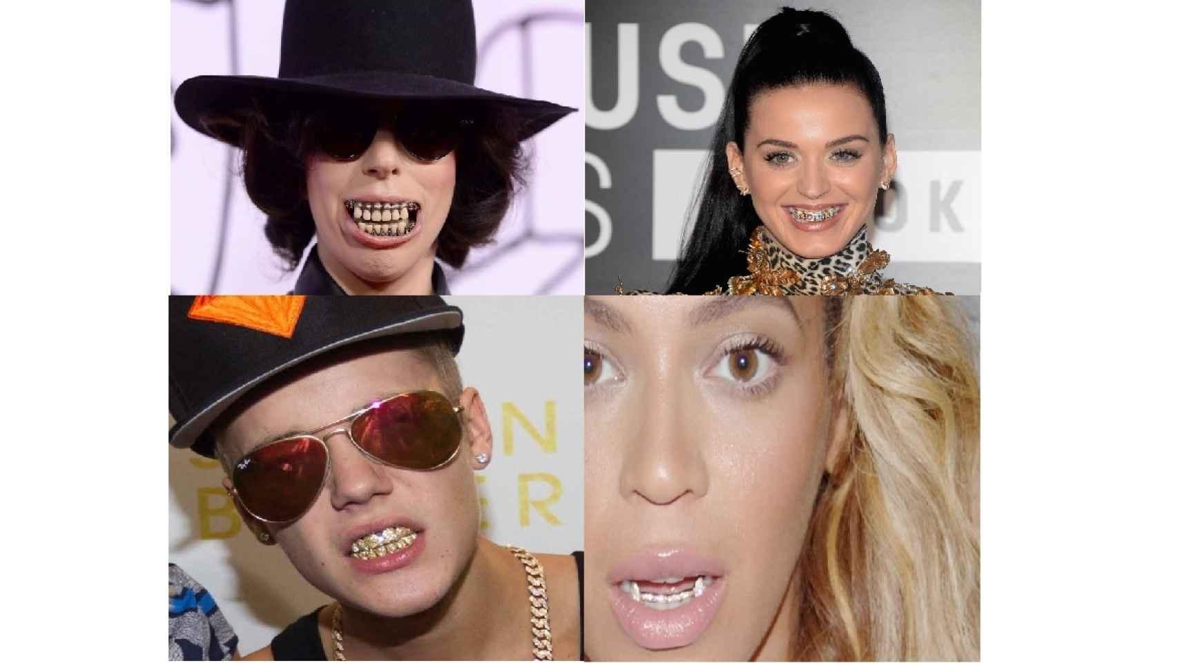 De izquierda a derecha: Lady Gaga, Katy Perry, Justin Bieber y Beyonce luciendo grills.