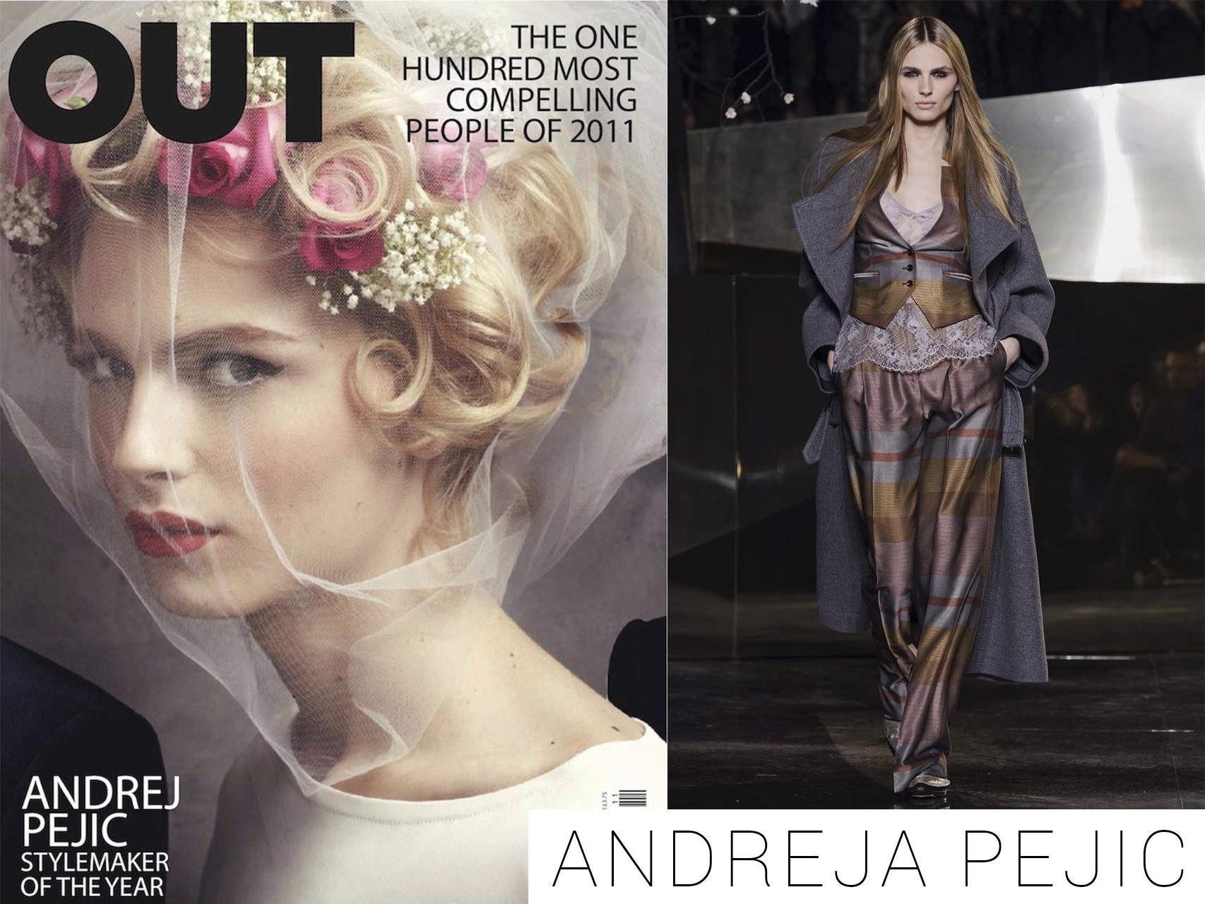 Andreja Pejic en la portada de la revista Out y desfilando para H&M Studio 2016.
