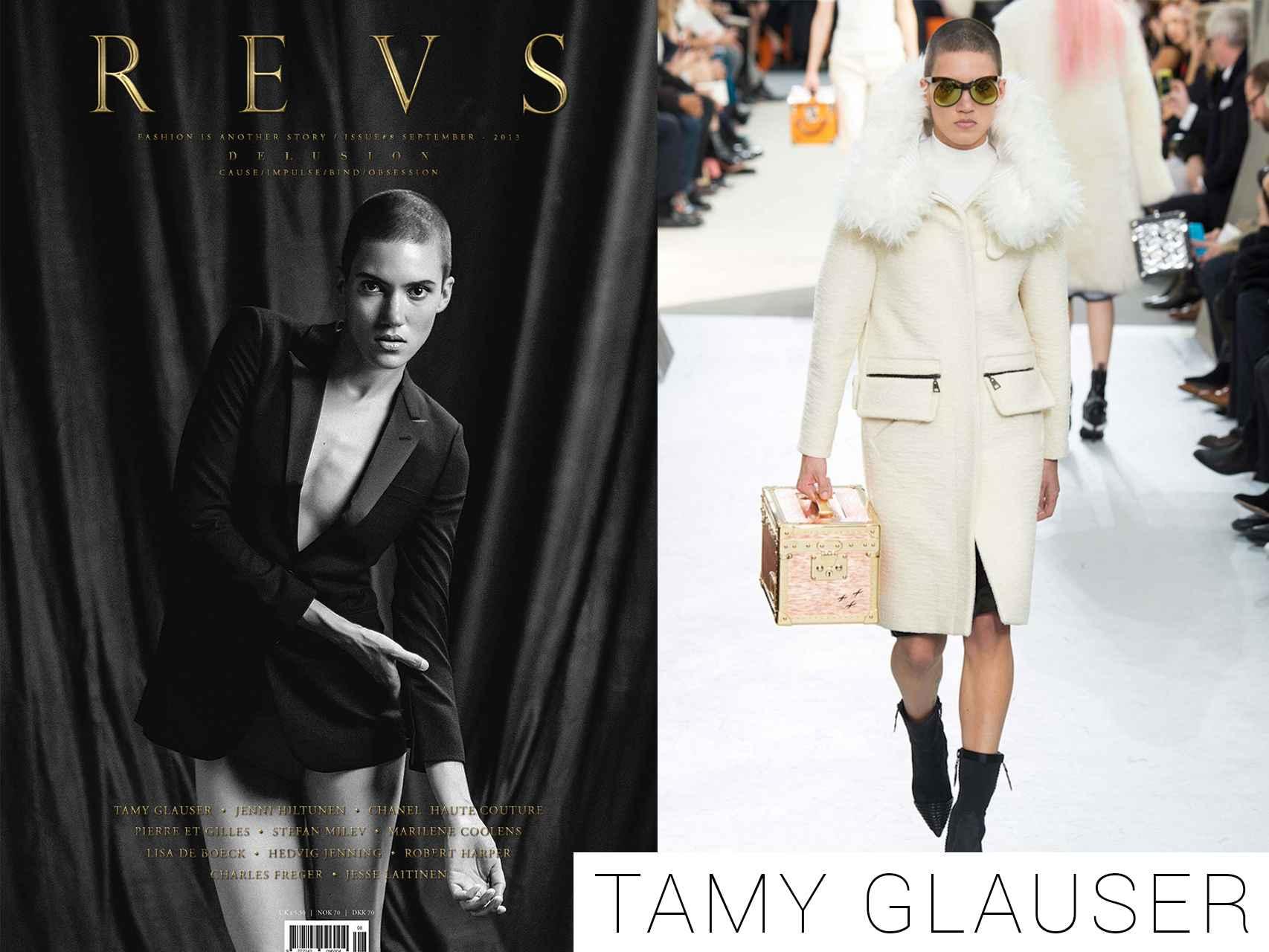 Tamy Glauser en la portada de Revs y desfilando para Louis Vuitton