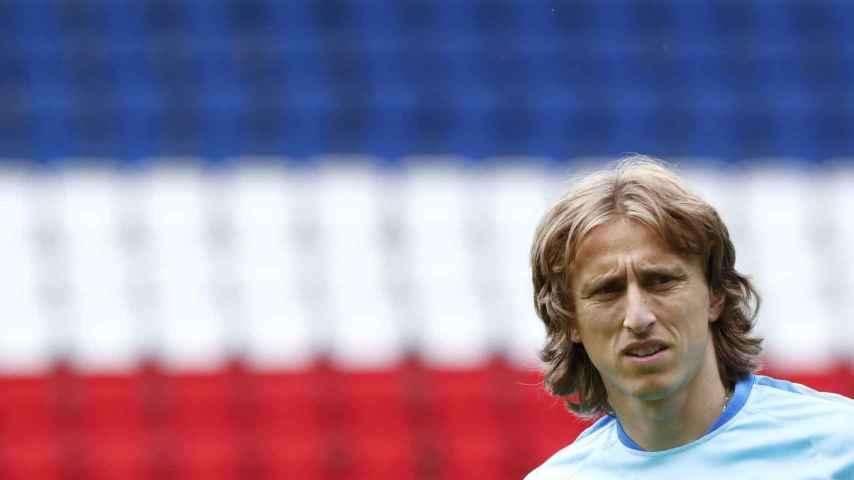 Luka Modric durante un entrenamiento con Croacia.