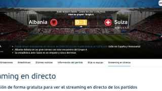 Captura de pantalla al comienzo de la segunda parte de la web de la UEFA.