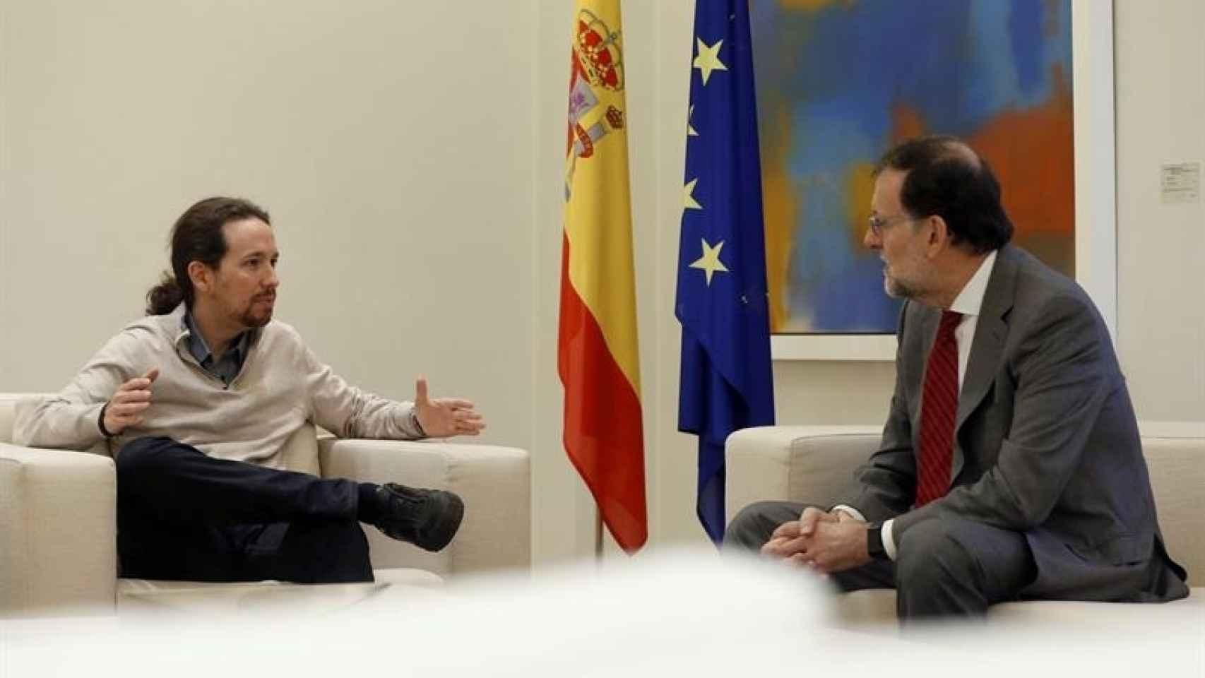 Pablo Iglesias visita a Mariano Rajoy en la Moncloa.
