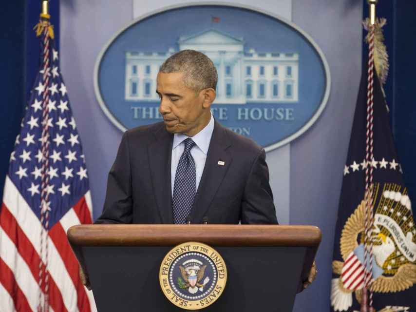 Barack Obama durante su intervención ante los medios.