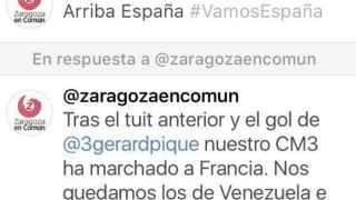 """Zaragoza en Común celebra el gol de Piqué con un """"Arriba España"""""""