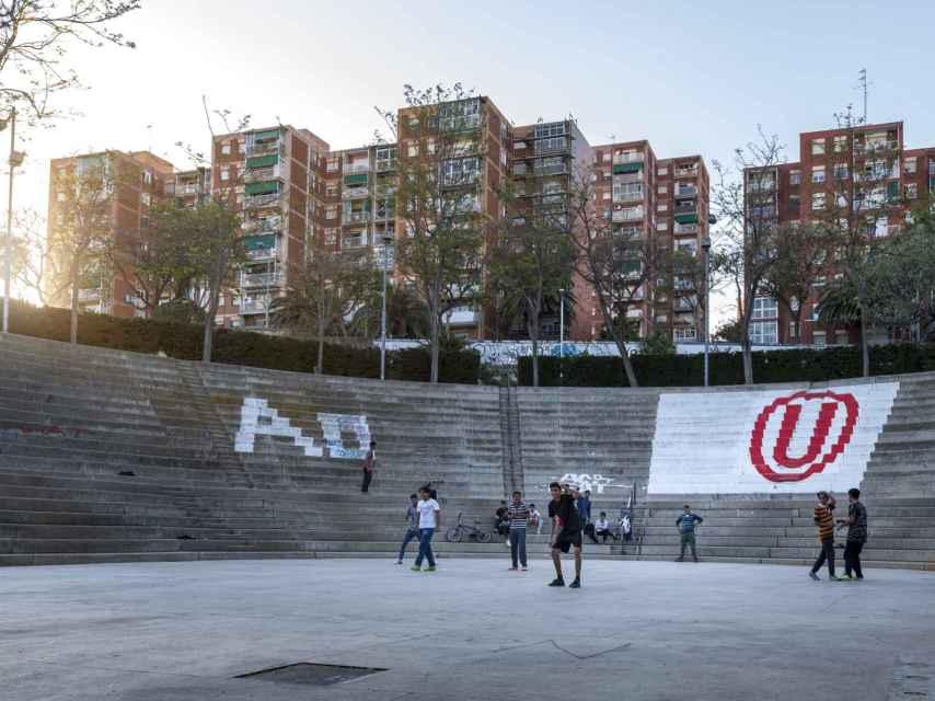 Una de las zonas del proyecto grafitero del barrio de Llefià.