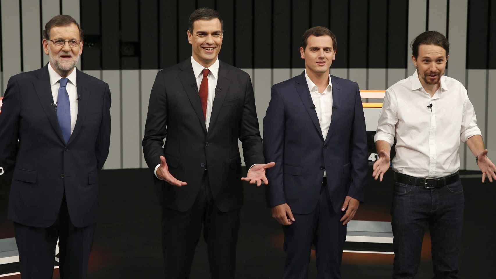 Rajoy, Sánchez, Rivera e Iglesias, momentos previos al debate.