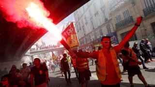 Varios manifestantes durante la protesta en París.