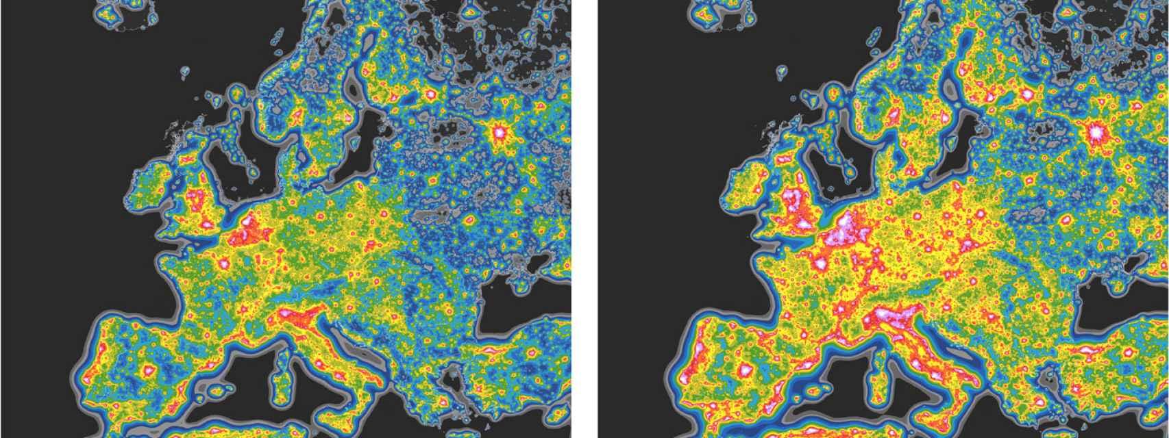A la izquierda, contaminación lumínica actual. A la derecha, con la expansión del LED.