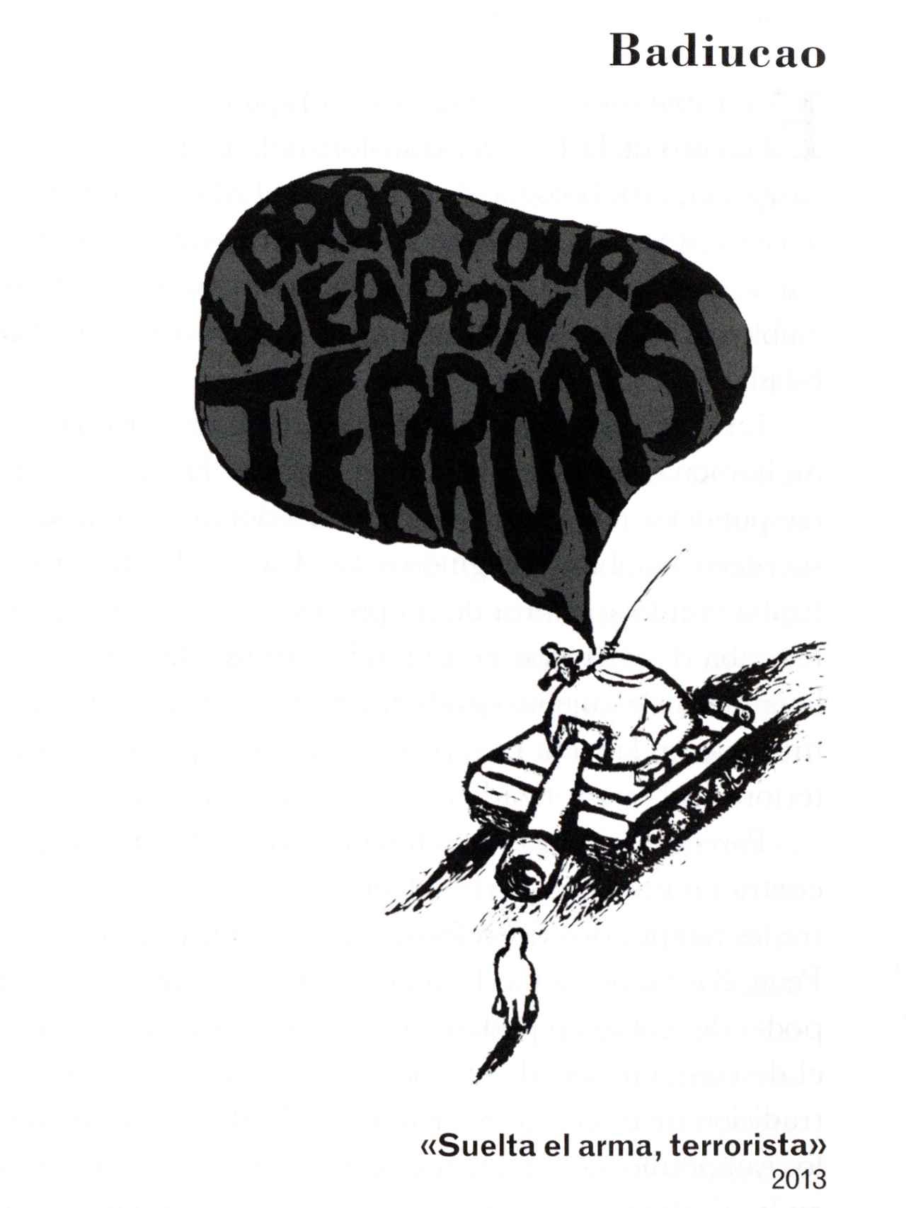 Badiucao duda, con esta imagen, de la versión del gobierno chino del atentado del 28.10.2013.
