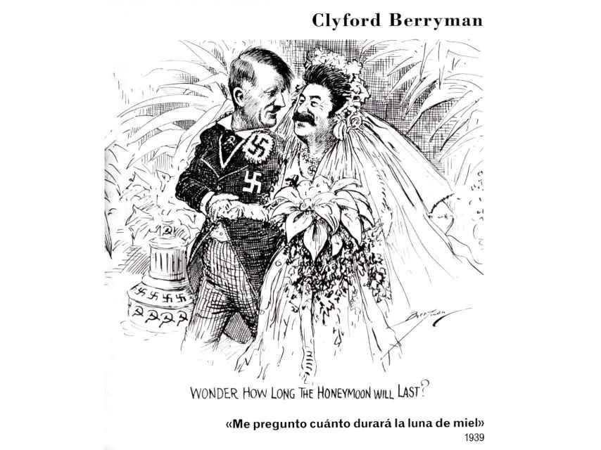 Una de las páginas del libro muestra un retrato del pacto germánico-soviético como un matrimonio de conveniencia.