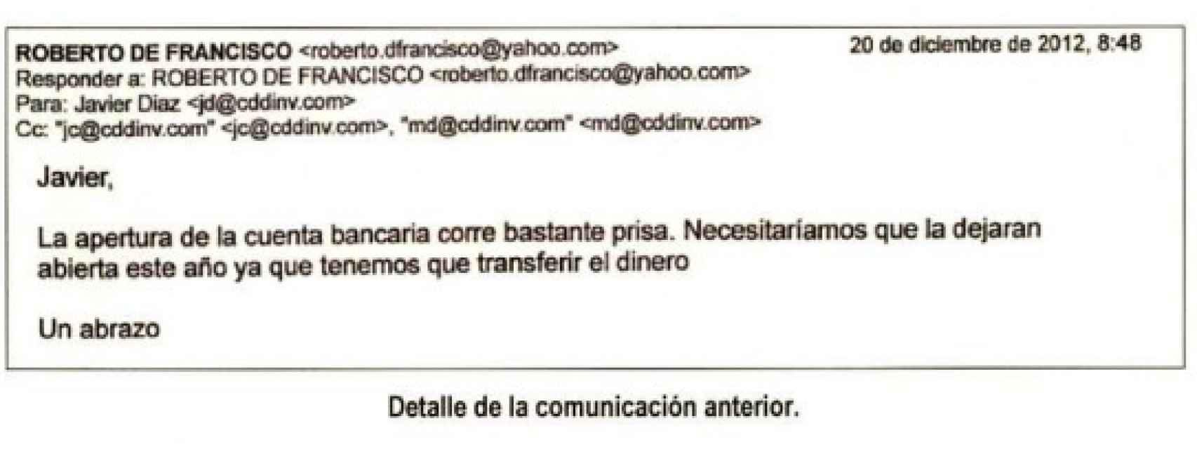 Correo electrónico de los gestores de Marjaliza.