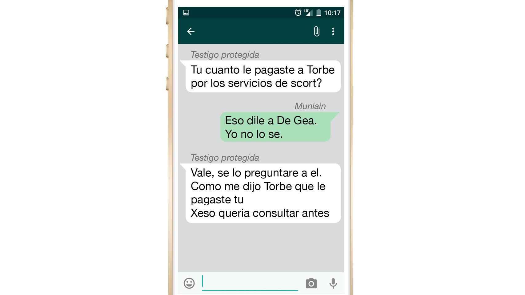 Imagen del Whatsapp con la testigo protegida