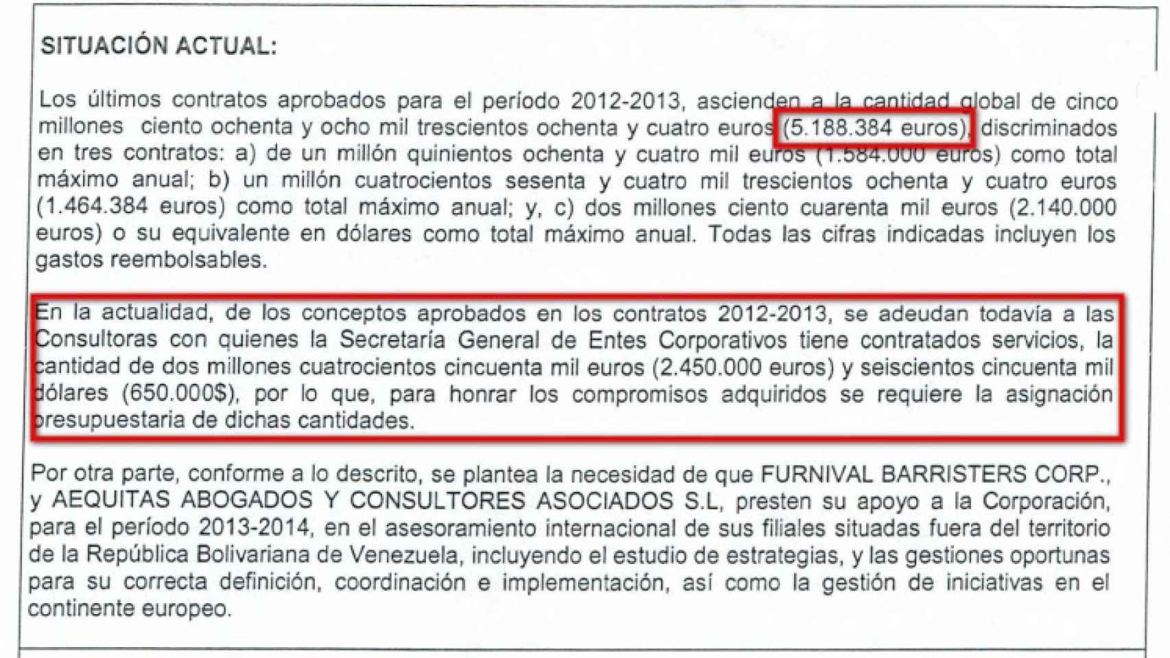 Extracto del contrato firmado entre Pedevesa y las sociedades investigadas.