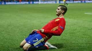Morata celebra uno de sus goles ante Turquía.