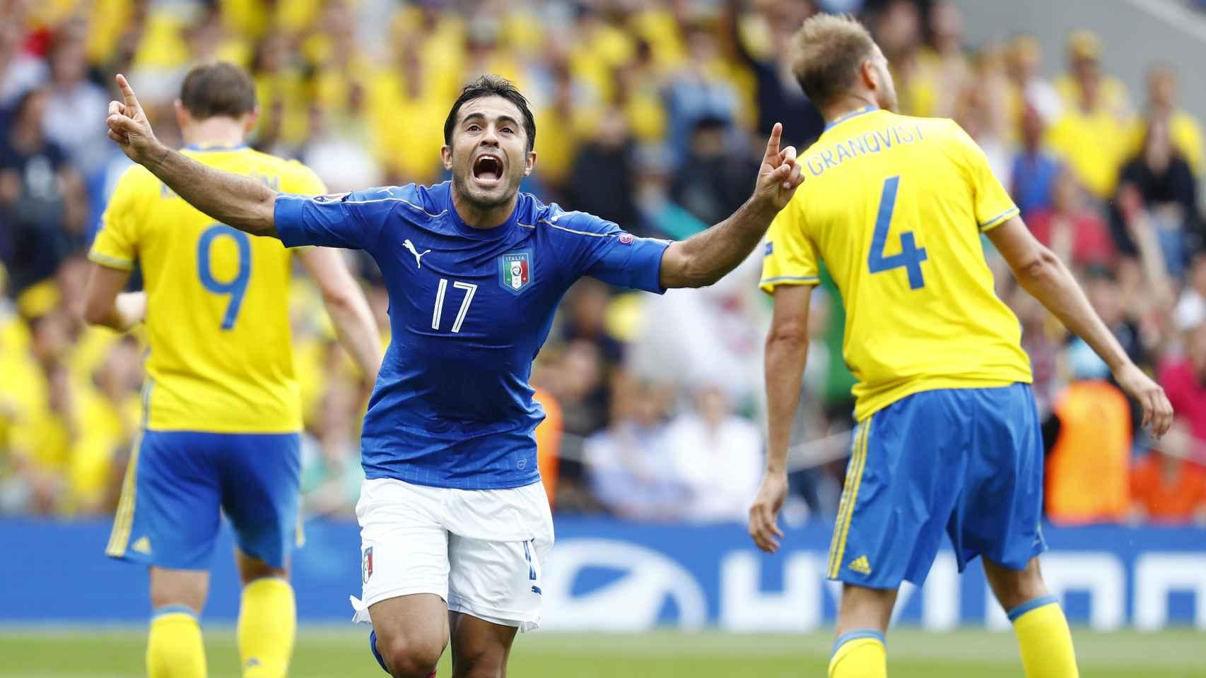 Eder celebra su gol ante Suecia.