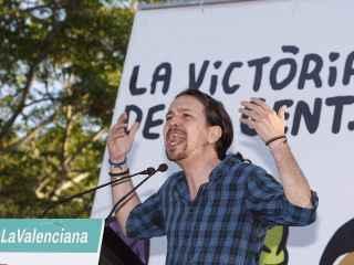 El líder de Podemos en el mitin de Alicante.