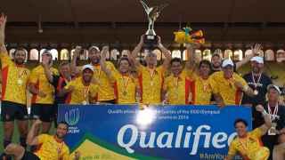 España celebra su victoria en el Preolímpico de rugby a 7.