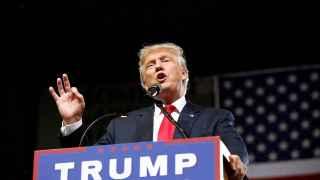 Republican U.S. Presidential candidate Donald Trump speaks at a campaign rally in Phoenix