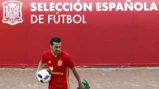 Pedro Rodríguez durante un entrenamiento de la selección española.