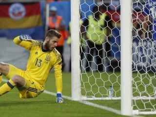 David de Gea en la jugada del primer gol croata.