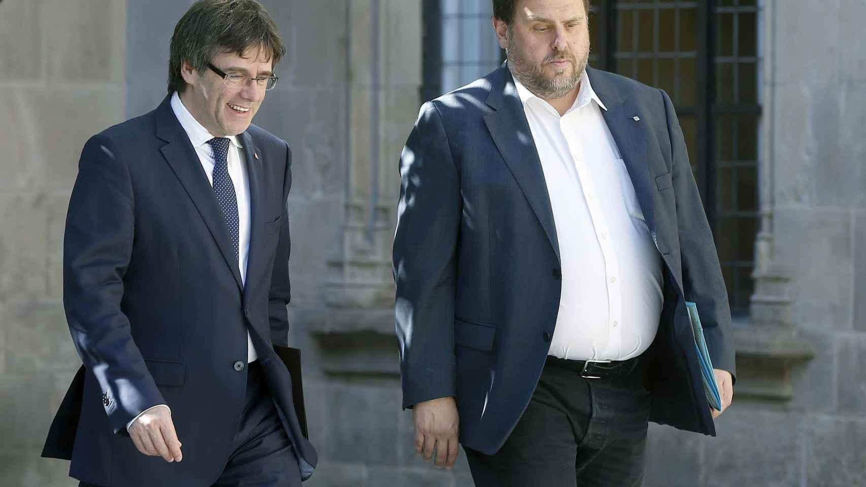 Puigdemont y Junqueras, este martes a la llegada a la reunión del Govern