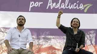 Alberto Garzón y Pablo Iglesias este jueves en Jerez de la Frontera.