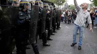 Manifestación junto a la plaza de la Bastilla en París