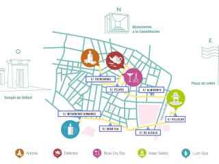 Mapa orientativo de los establecimientos de belleza y cuidados Eco. (ILustradora: Belén Navarro).