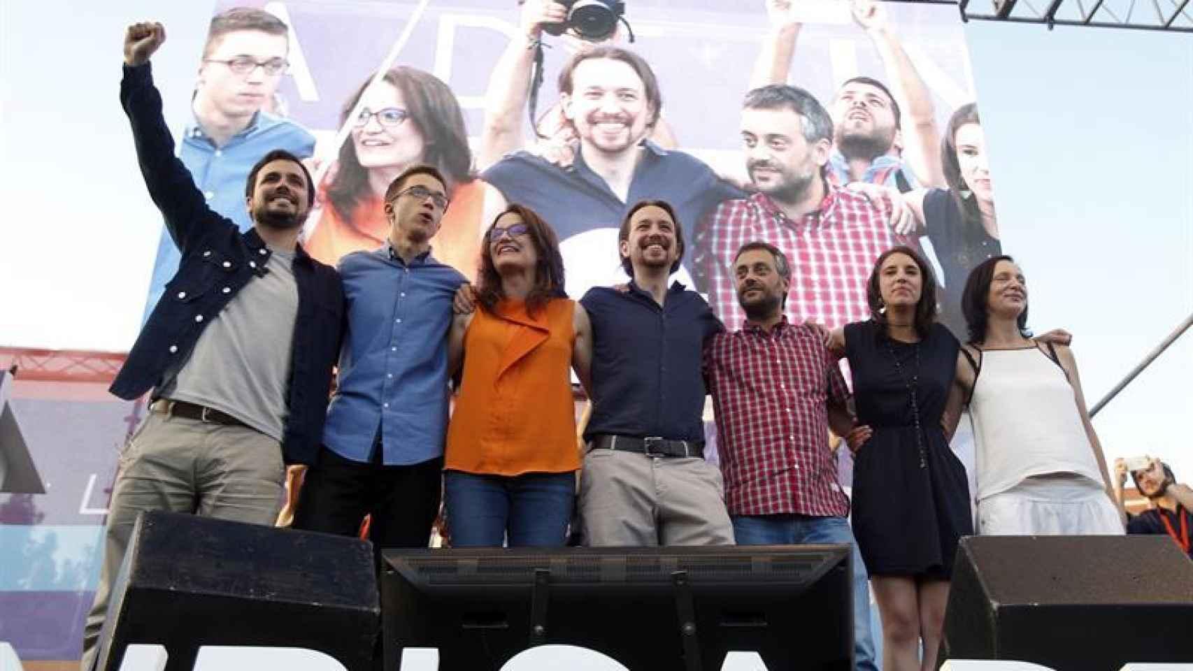 Los líderes de Unidos Podemos este viernes en Madrid.