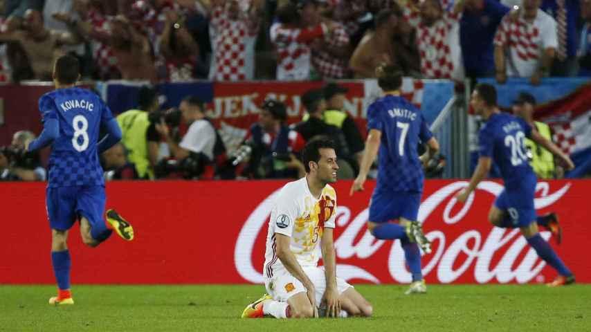 Busquets, tras el gol de Croacia.