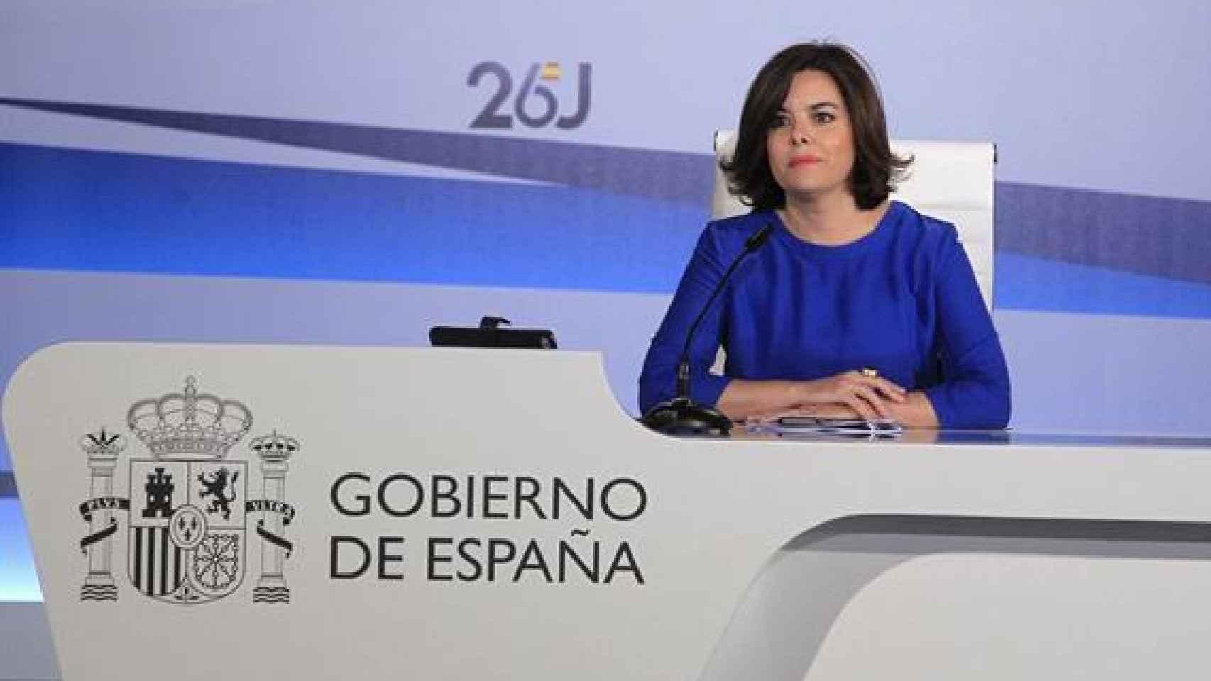 Soraya Sáenz de Santamaría, en la rueda de prensa del escrutinio del 26J.