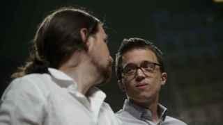Pablo Iglesias e Íñigo Errejón este domingo en Madrid.