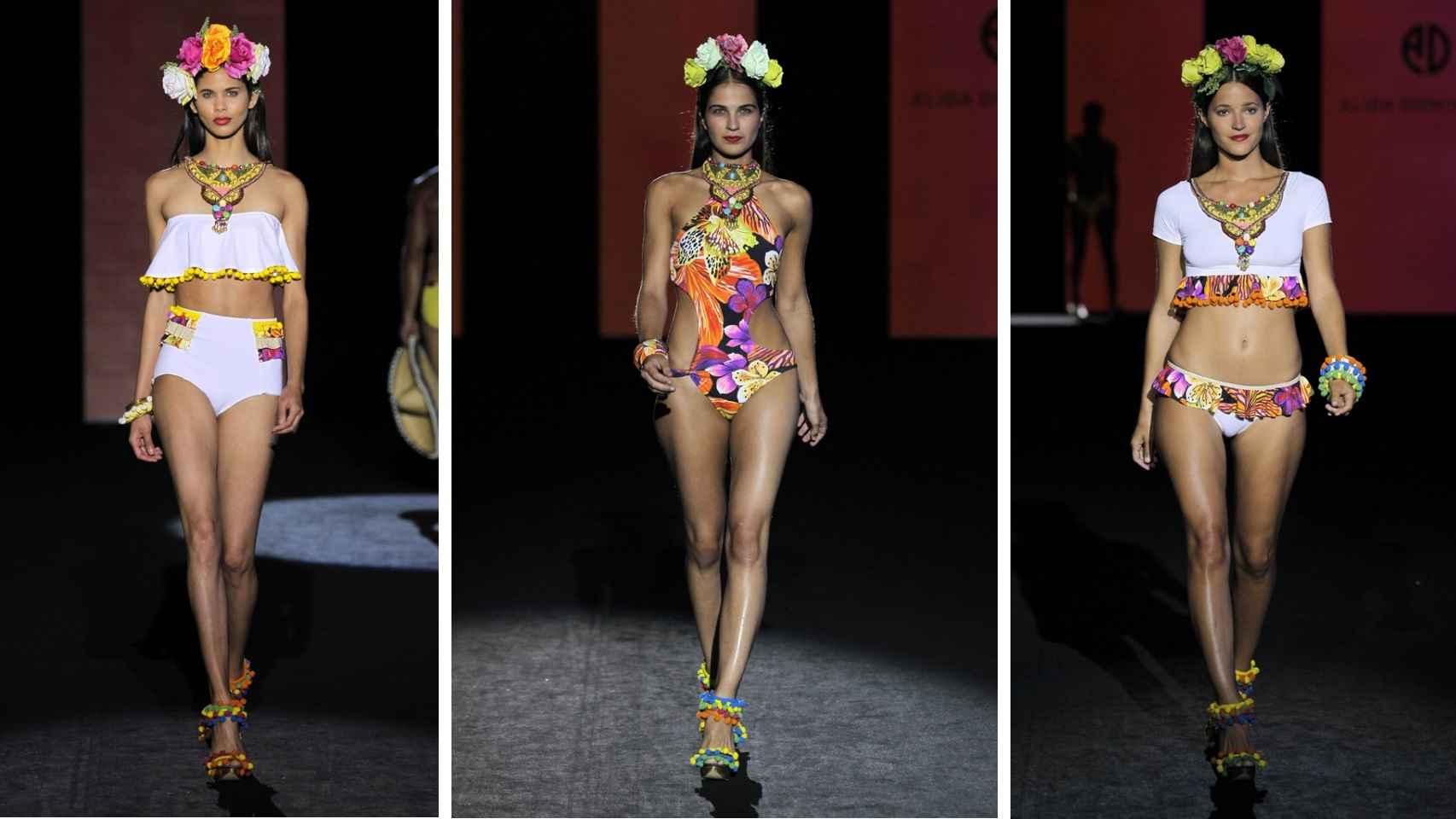 Tres modelos de la colección de Primavera-Verano 2016 de Alida Dominguez.