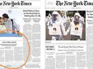 A la izquierda, la portada manipulada; a la derecha, la real.
