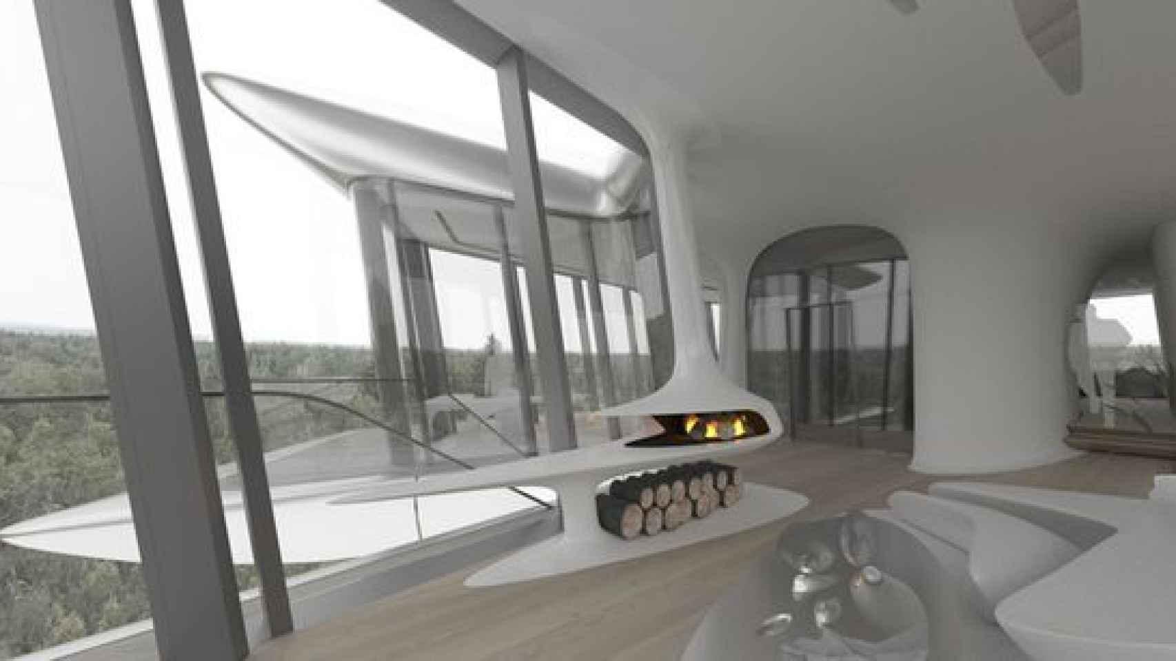 Interior de la casa diseñada por Zaha Hadid a las afueras de Moscú.