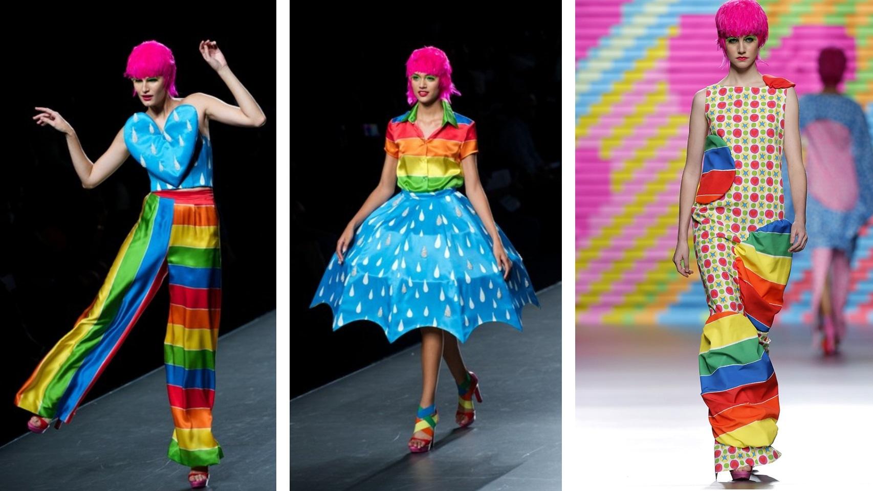 Modelos de Agatha Ruiz de la Prada de la colección Primavera/ Verano 2015 inspirados en la lluvia y arcoíris.