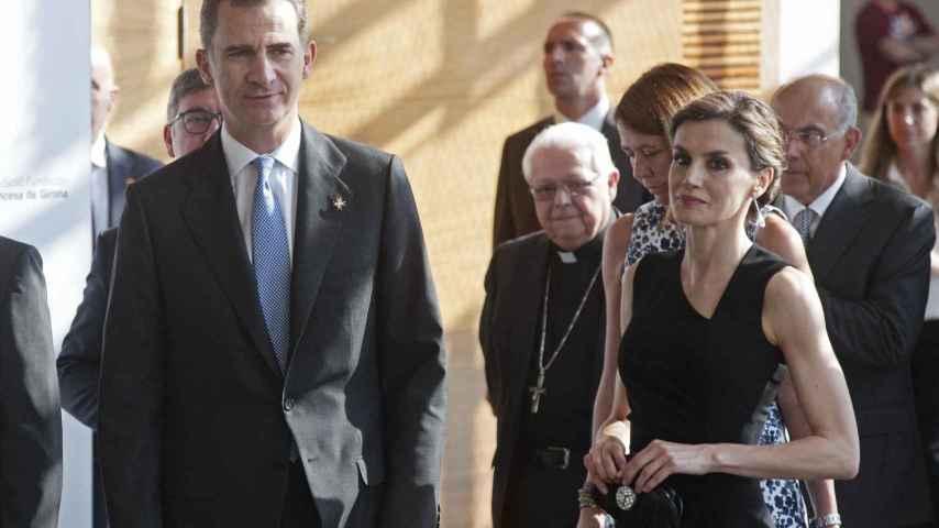 Los reyes de España a su llegada hoy al acto de entrega de los premios Fundación Princesa de Girona.