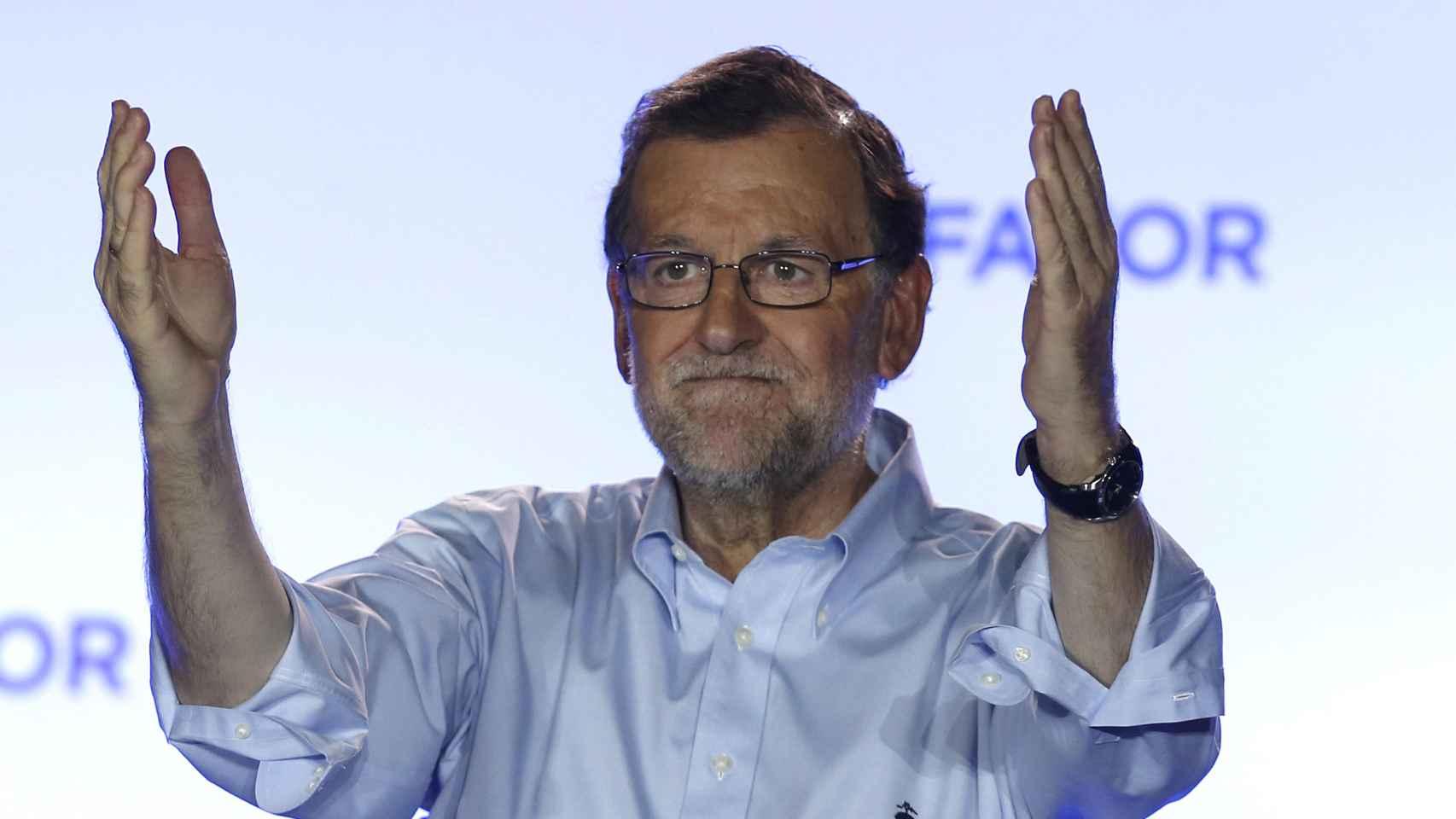 Rajoy, en el balcón de Génova tras las elecciones del 26J.