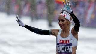 Érika Olivera al finalizar la maratón de Londres 2012.