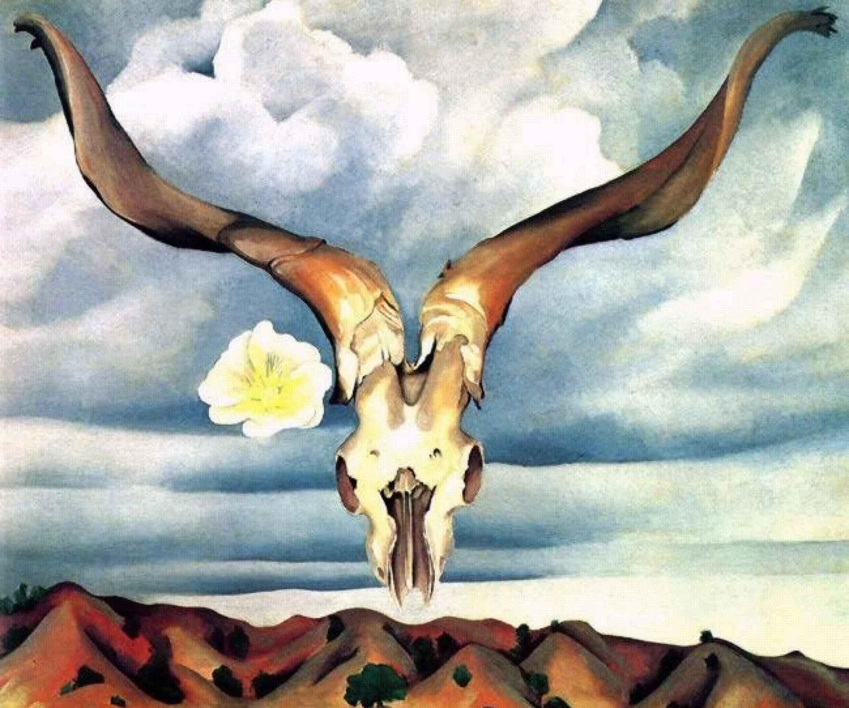 Uno de los trabajos de O'Keeffe en Nuevo México, donde pasó de las flores a los huesos.
