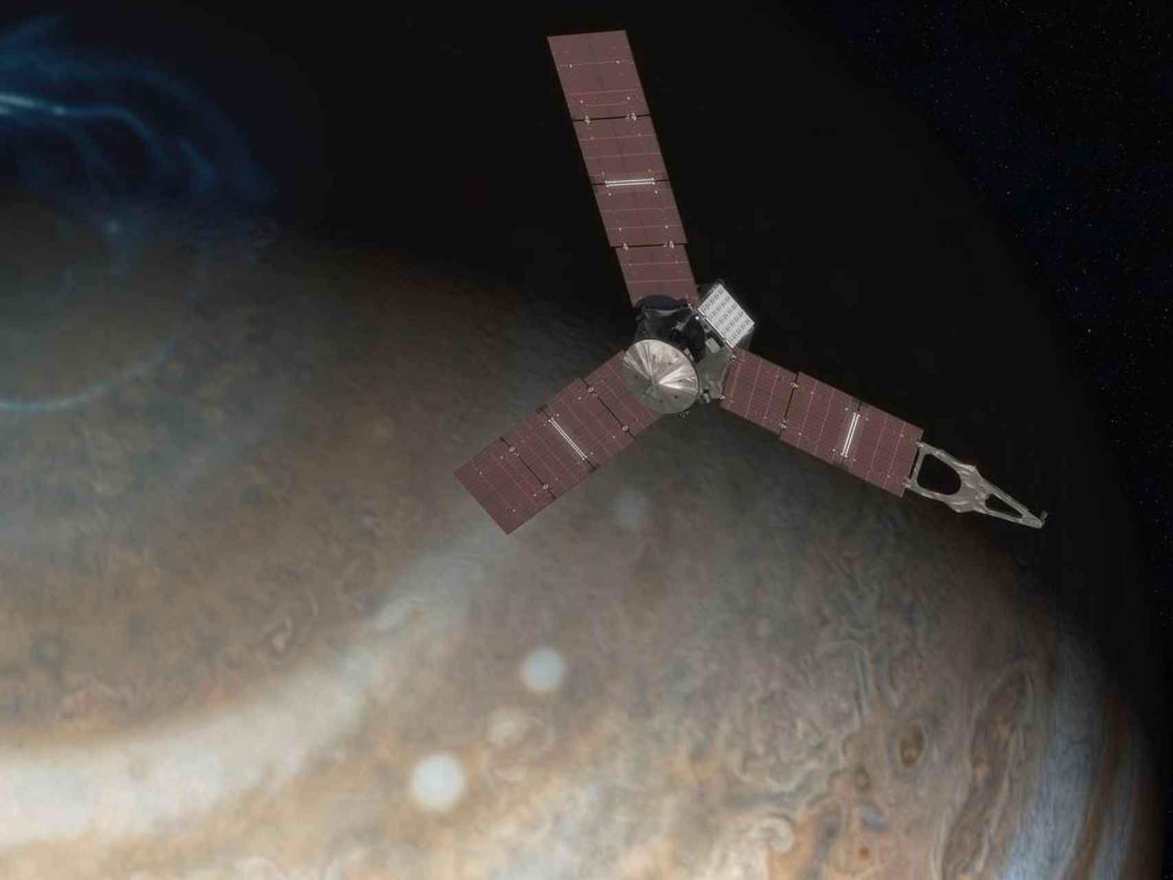Ilustración de la sonda sobre Júpiter.