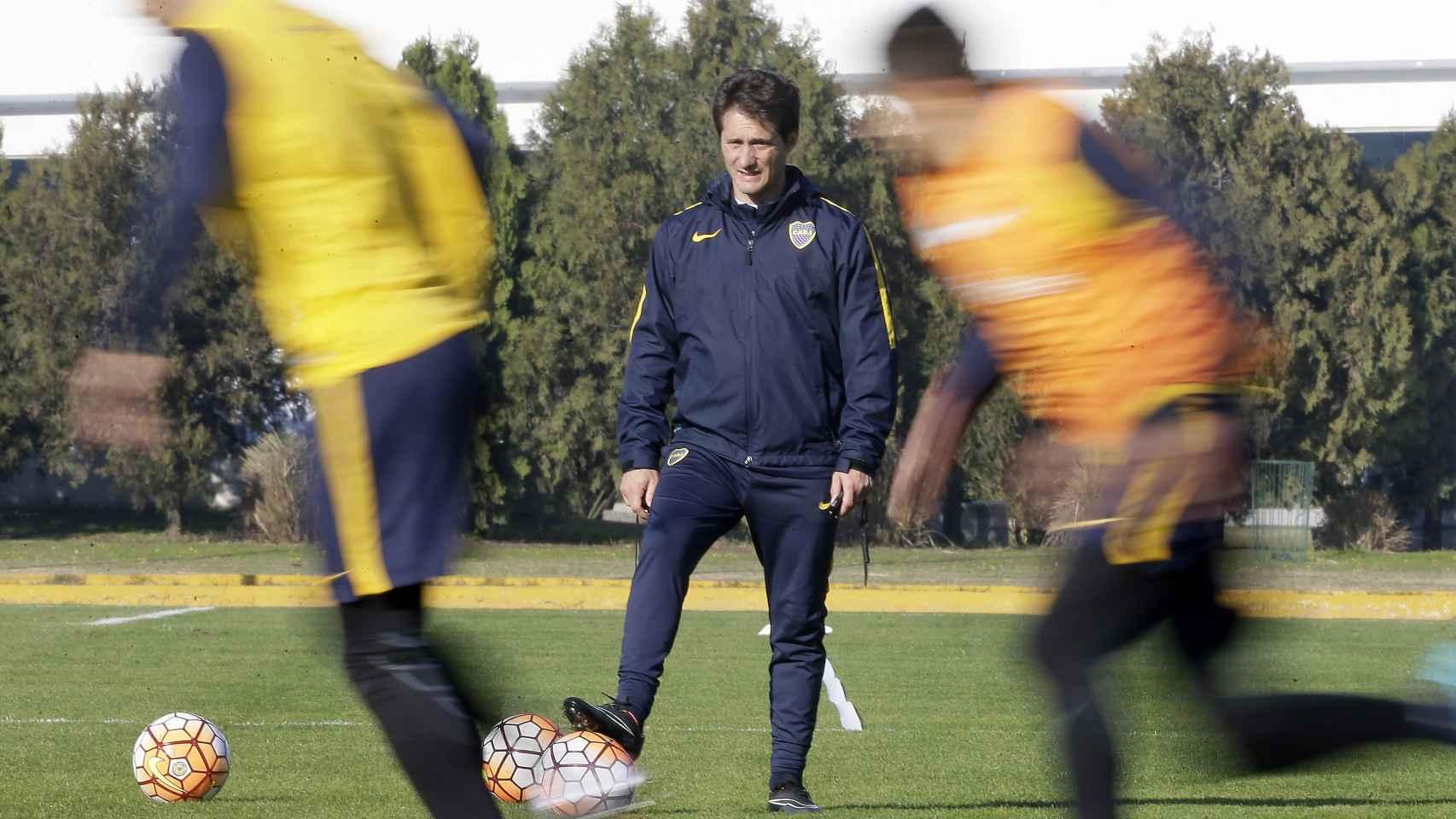 Boca Juniors, durante el entrenamiento.