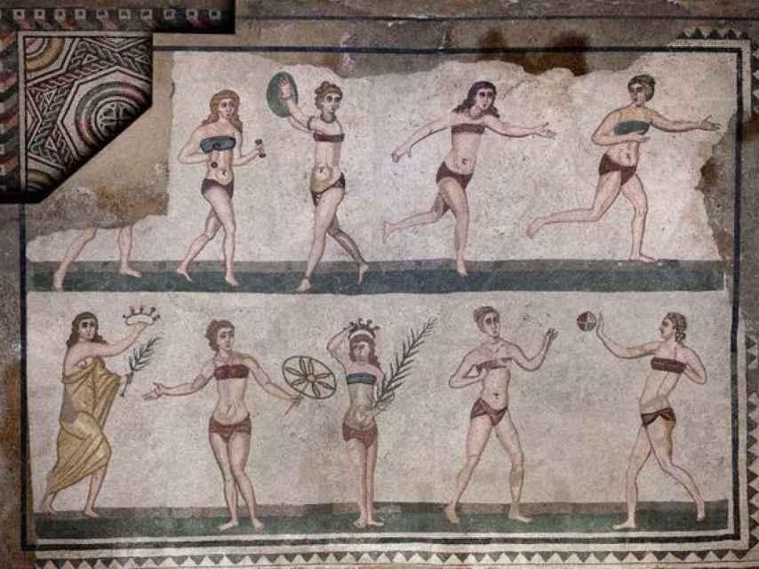 Mosaicos de los siglos III y IV a. C. en la villa romana del Casale en Sicilia (Italia).