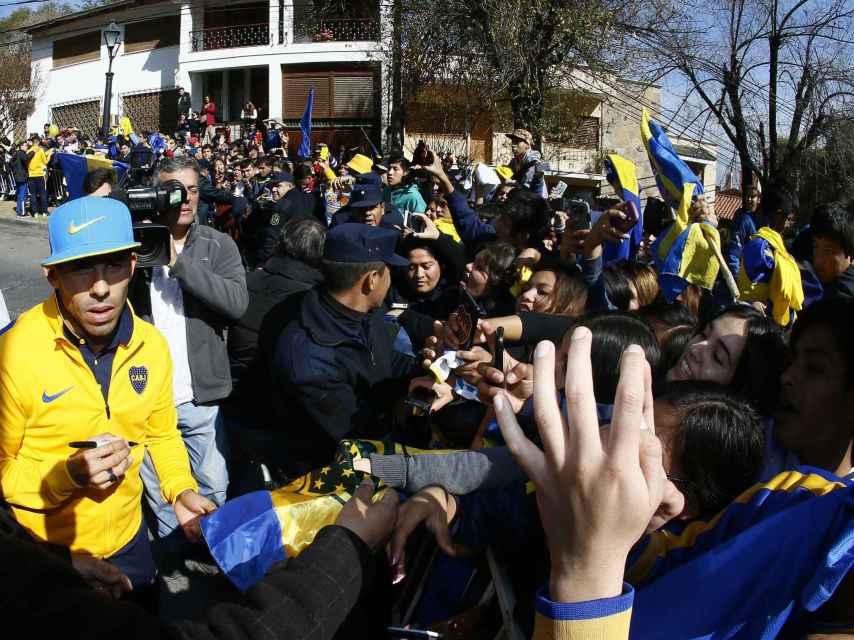 Carlos Tévez a su llegada.