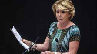 Esperanza Aguirre, durante su intervención en el pleno extraordinario