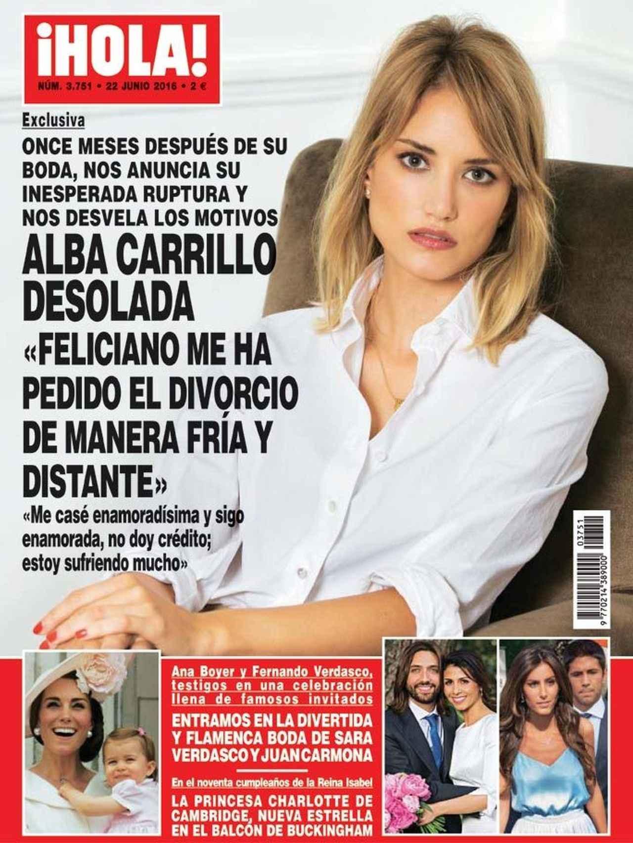 Portada de la revista '¡HOLA!' con la exclusiva de la ruptura de Alba carrillo y Feliciano López